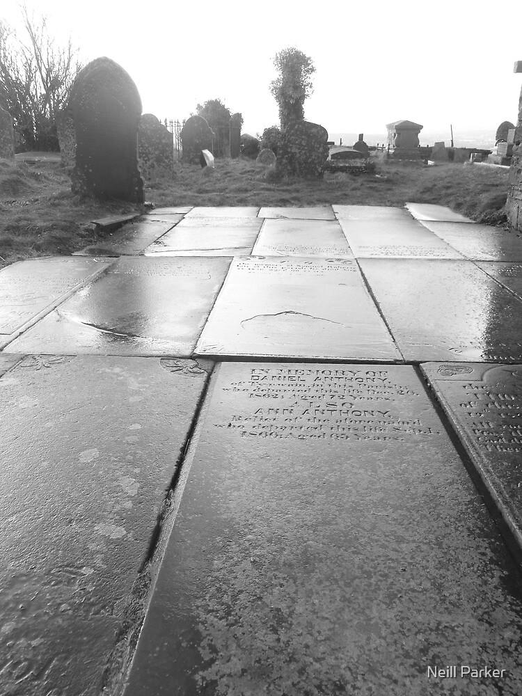 Mynyddislwyn Gravestone Path. by Neill Parker
