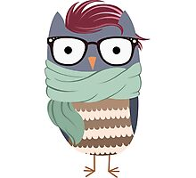 Hipster Owl Transparent Background Photographic Print