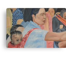 Mother and child Child's view at a busy market  Canvas Print
