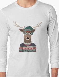 Hipster Deer Transparent Background Long Sleeve T-Shirt