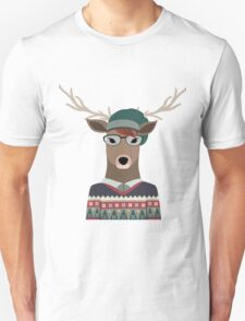 Hipster Deer Transparent Background T-Shirt