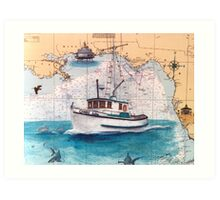 Cindy Lou FL Nautical Chart Boat Cathy Peek Art Print