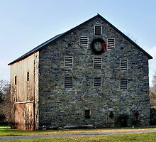 Stone Barn At Christmas - Circa 1835 by Gene Walls