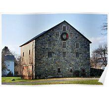 Stone Barn At Christmas - Circa 1835 Poster