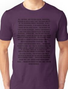 The 2nd Law Unsustainable Unisex T-Shirt