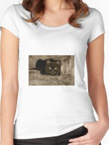 Cat with target eyes Women's Fitted Scoop T-Shirt