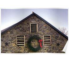 1835 Stone Barn At Christmas Poster