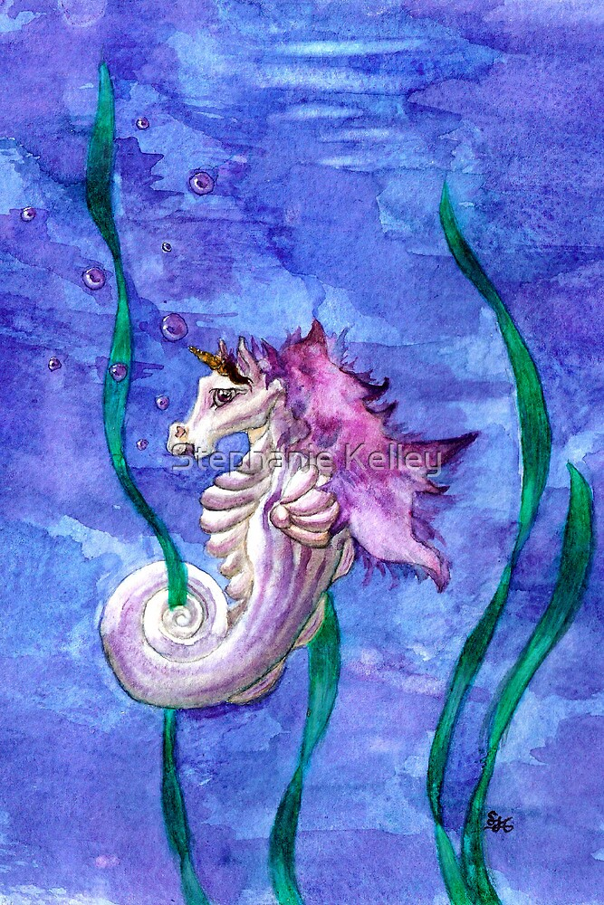 Unicorn Seahorse Underwater Fantasy by Stephanie Whitcomb