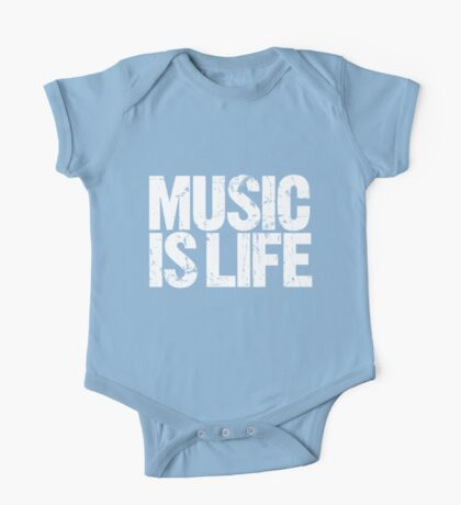 Music is Life (white) One Piece - Short Sleeve