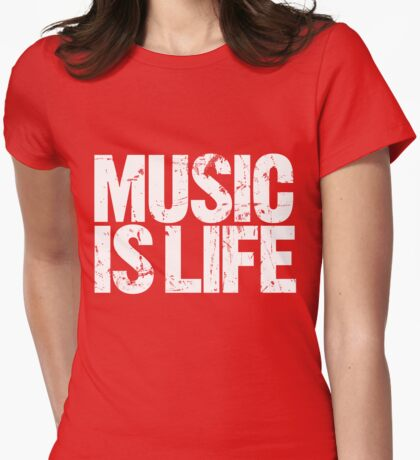 Music is Life (white) Womens Fitted T-Shirt