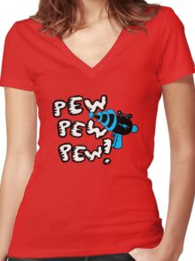 Pew pew pew! Women's Fitted V-Neck T-Shirt