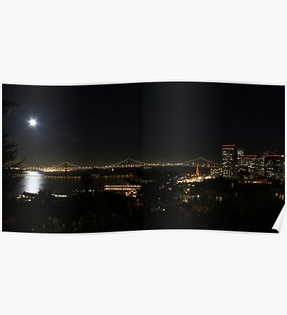 Moon a-Rising over The City Poster
