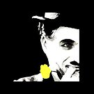 Classic Silent Film Star Charlie Chaplin with Yellow Rose Art by dollyforsue