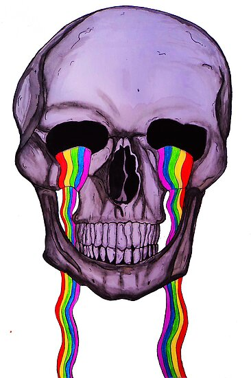 Skull Crying Rainbows by Goodvibes