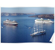 Cruise Liners at Anchor Poster