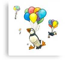 The Puffins Are Getting Carried Away Canvas Print