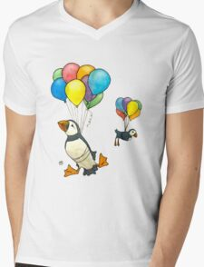 The Puffins Are Getting Carried Away Mens V-Neck T-Shirt