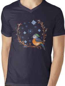Watercolor Winter Bird Mens V-Neck T-Shirt
