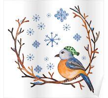 Watercolor Winter Bird Poster