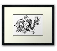 The Ram skull and bird Framed Print