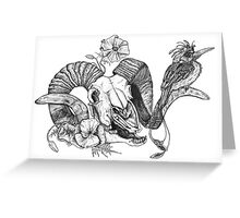 The Ram skull and bird Greeting Card