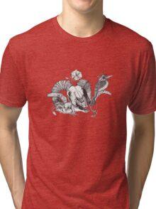 The Ram skull and bird Tri-blend T-Shirt