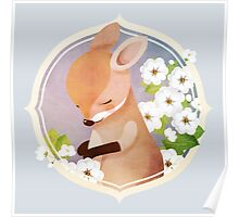 Bashful Wallaby and White Rose Poster