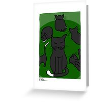 Cats - green Greeting Card