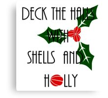 Deck the Halls with Shells and Holly - Mermaid Christmas Canvas Print