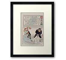 A Russian officer and a Japanese officer are standing on a large map the Japanese officer has pulled up a piece of the map causing the Russian officer to slip and fall 002 Framed Print