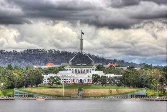 Parliament House Old and New Canberra Australia  by Kym Bradley