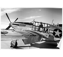 B/W P51C Mustang WWII Fighter Plane Poster