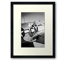 B/W P51C Mustang WWII Fighter Plane Framed Print
