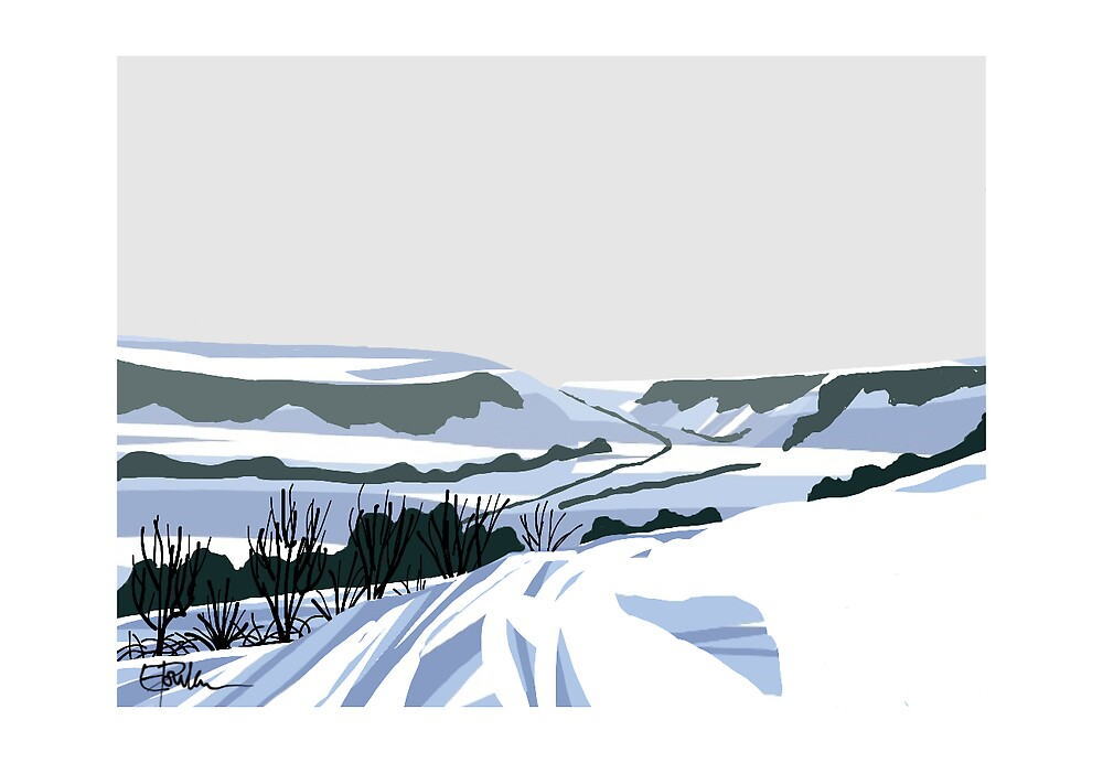 Snow on hills 2 by LizPoulain