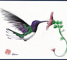 Precious - Hummingbird mixed media painting/drawing by Rebecca Rees