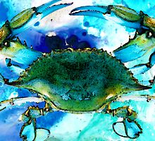 Blue Crab - Abstract Seafood Painting by Sharon Cummings