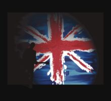 British Flag & Guitarist (black background) by artguy24