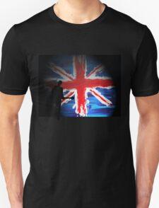 British Flag & Guitarist (black background) T-Shirt