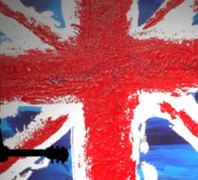 British Flag & Guitarist (black background) Sticker