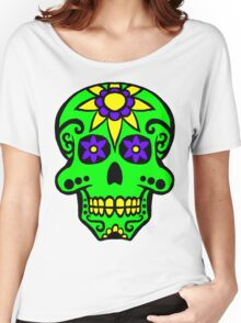 Day of the Dead  skull 2 green purple and yellow Women's Relaxed Fit T-Shirt