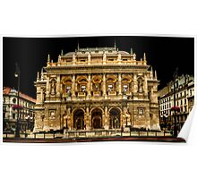 Hungarian State Opera House at Night, Budapest, Hungary Poster