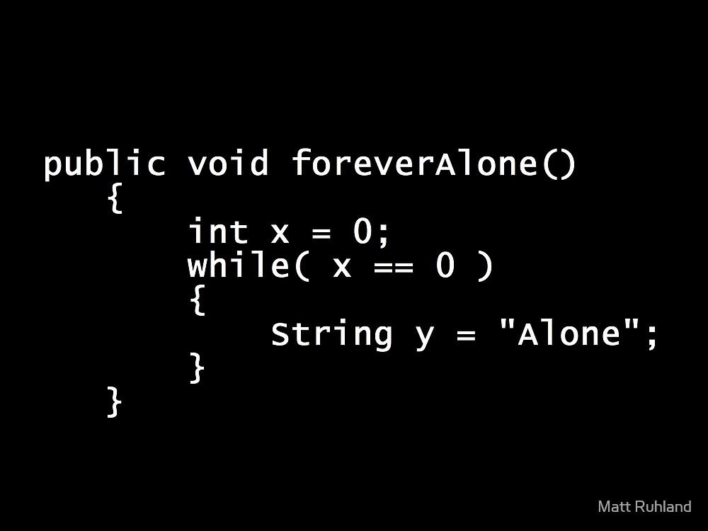 Forever Alone Java Poster by Matt Ruhland