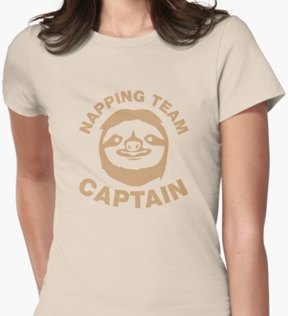 Sloth Napping Team Captain Womens Fitted T-Shirt