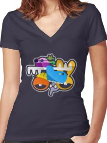 Happy Tree Faces Women's Fitted V-Neck T-Shirt