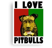 I Love Pitbulls Black Font Canvas Print