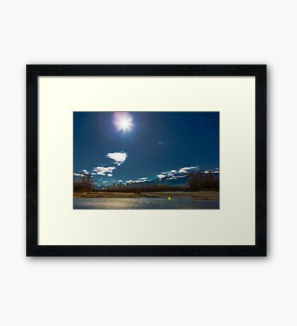 By the Light of the Full Moon Over the Wallace and Skykomish Rivers and Haystack Mountain Framed Print
