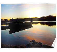 Fishing Boat Reflection at Sunrise Poster