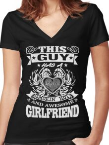 AWESOME GIRLFRIEND Women's Fitted V-Neck T-Shirt