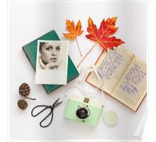 Autumn Leaves and Books Poster