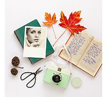 Autumn Leaves and Books Photographic Print